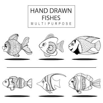 Handgezogene fische mehrzweck