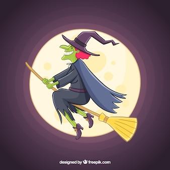 Handgezogene hexe mit gruseliger art