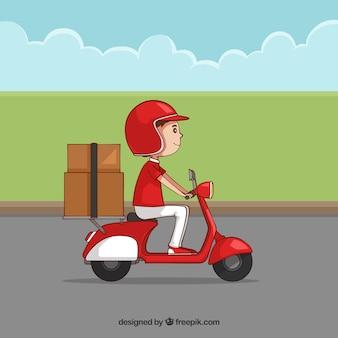 Handgezogener deliveryman mit schöner art