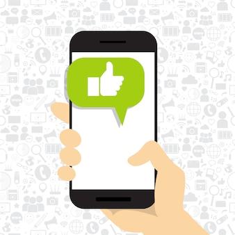 Handgriff-zellintelligentes telefon mit dem daumen herauf ikonen-social media wie symbol-netzwerk-kommunikations-konzept