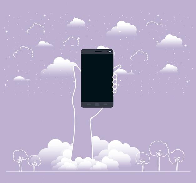 Handheben smartphone in den himmel