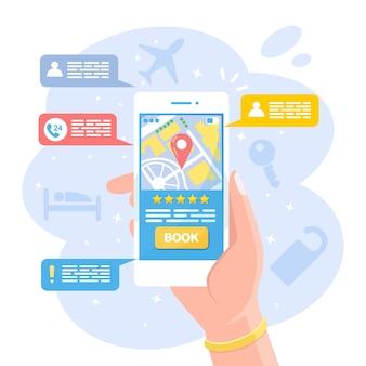 Handheld-handy mit app für hotelsuche und online-buchung. mobile anwendung für die reservierung, wohnung mit chat-nachricht mieten. mann findet und bestellt motelzimmer per handy. vektordesign