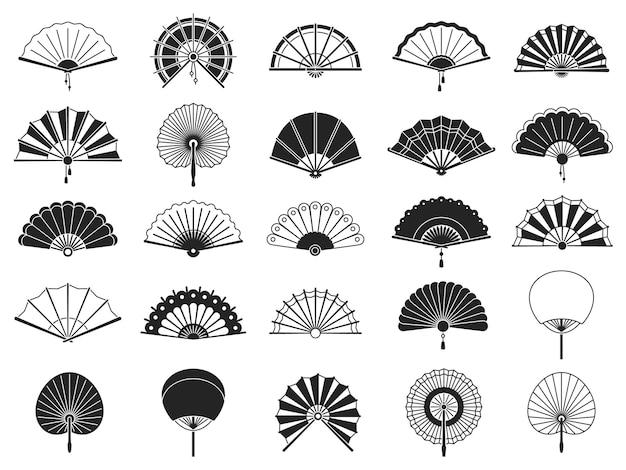 Handheld-lüfter. schwarze silhouetten von chinesischen, japanischen papierfalthandfächern, traditioneller asiatischer dekoration und souvenirvektor isoliert. chinesischer fan schwarze silhouette illustration, asiatisches souvenir
