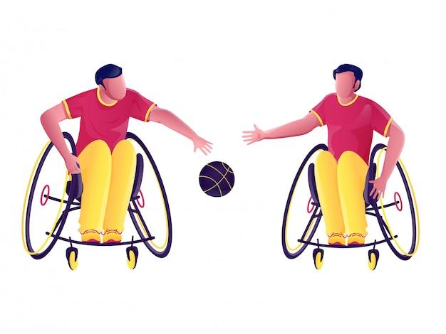 Handicap-sportler, die basketball spielen