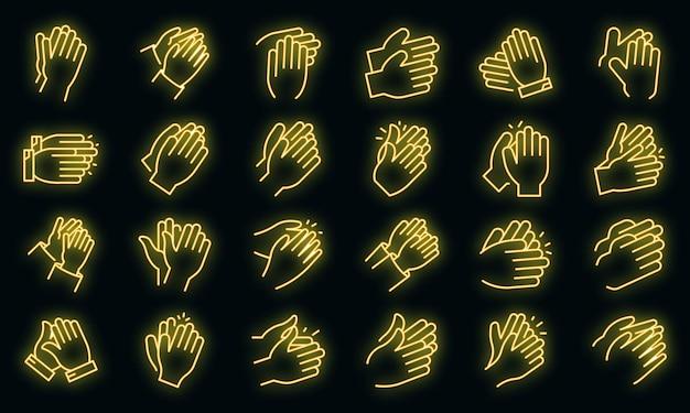 Handklatschen-symbole gesetzt. umrisse von handklatschen-vektorsymbolen neonfarbe auf schwarz