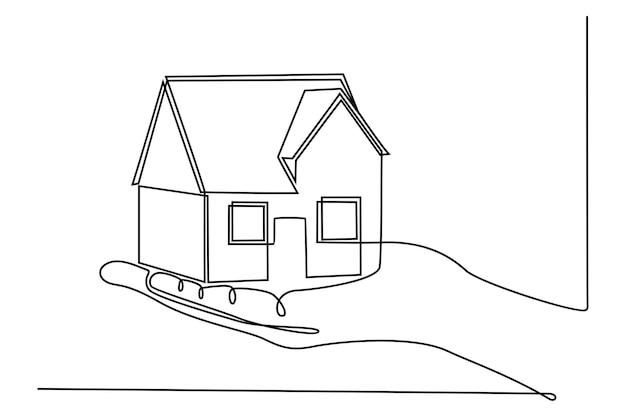 Handkontinuierliche strichzeichnung mit hausbaukonzept-vektorillustration