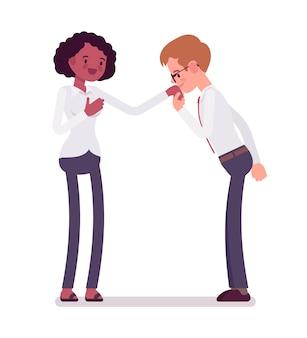 Handkussgeste der männlichen sekretärinnen zur frau