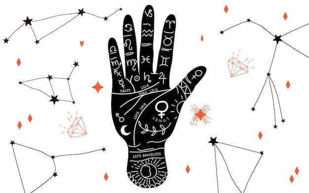 Handlesen und hieromantie. handlinien und ihre bedeutung. mondphasen. kristalle in verschiedenen formen. magische hand gezeichnet