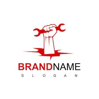 Handlicher mann-logo-design-vektor