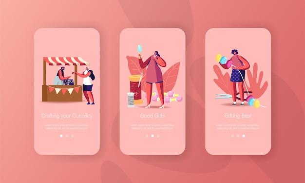 Handmade craft mobile app seite onboard-bildschirmvorlage.