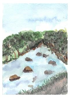 Handmalerei fores und fluss aquarell