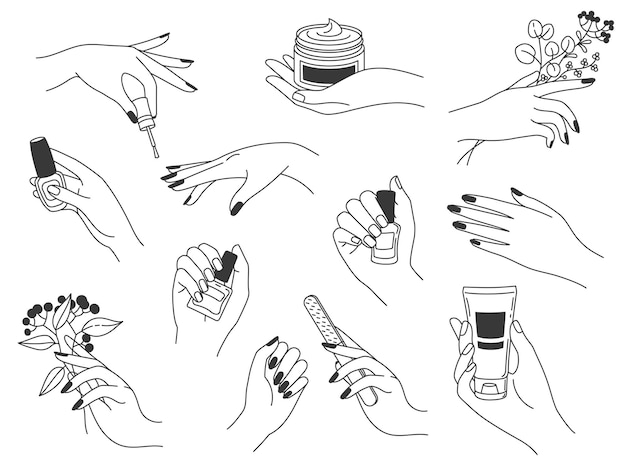 Handmaniküre und pflege. weibliche logos für nagelkosmetik und beauty-spa-salon. hände malen, nägel feilen, politur und creme halten, vektorset. maniküre mit nagellack, lotion