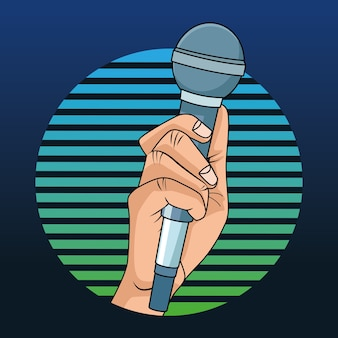 Handmensch mit mikrofon-pop-art-stil