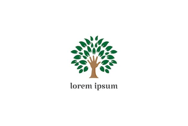 Handpflanzenbaum für bildungs-wohltätigkeitsstiftung oder umwelt-logo-design-vektor