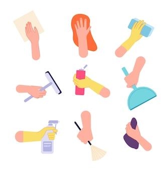 Handreinigung. hände gießen, sprühflaschenbürsten-sanitärtücher halten. isolierte hausarbeit-symbole mit waschmittel-tools-vektor-illustration. hand mit saubereren werkzeugen, sprühgeräten