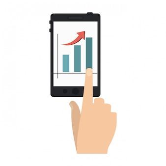Handrührender smartphone mit diagramm