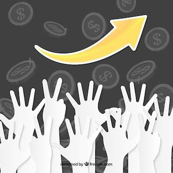Hands up business-hintergrund