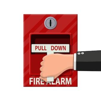 Handschalter brandmeldeanlage. feuer-ausrüstung.