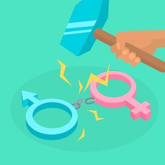 Handschellen brechen das konzept der geschlechtsnormen