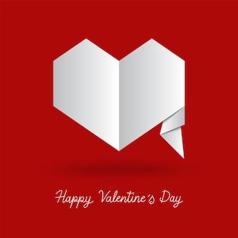 Handschrift der glücklichen valentinstag-hand mit herz im origami-stil.