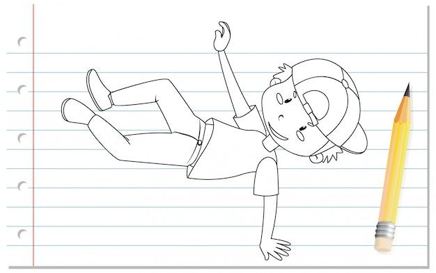 Handschrift des jungen tanzenden umrisses