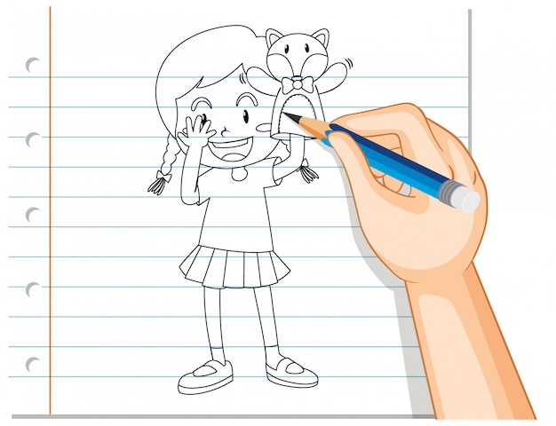 Handschrift des mädchens, das puppenhandumriss spielt