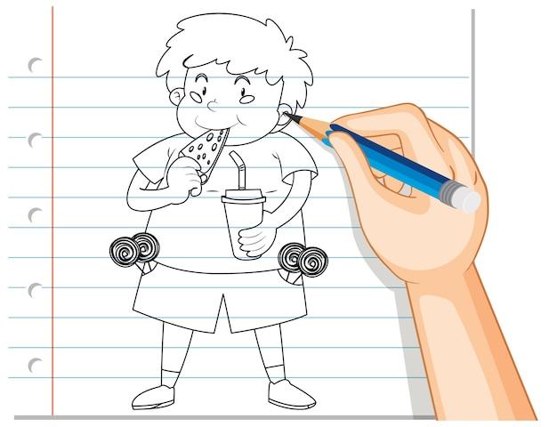 Handschrift des niedlichen fetten jungen, der pizza-umriss isst
