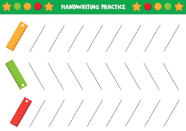 Handschrift praxis mit niedlichen bunten linealen.