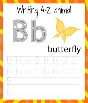 Handschrift übungsblatt. grundlegendes schreiben. lernspiel für kinder. lernen sie die buchstaben des englischen alphabets für kinder. brief schreiben b.