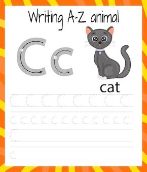Handschrift übungsblatt. grundlegendes schreiben. lernspiel für kinder. lernen sie die buchstaben des englischen alphabets für kinder. brief schreiben c.