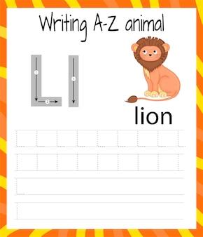 Handschrift-übungsblatt. grundlegendes schreiben. lernspiel für kinder. lernen sie die buchstaben des englischen alphabets für kinder. brief schreiben l