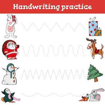 Handschrift-übungsblatt pädagogisches kinderspiel stellt die handschriftpraxis mit gestrichelten linien wieder her