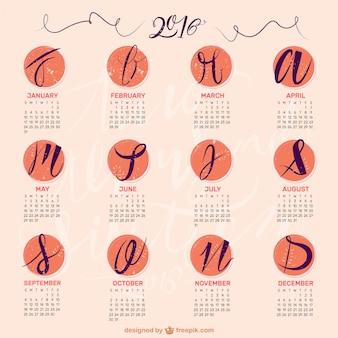 Handschriftliche 2016 kalender