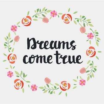 Handschriftliche beschriftung des inspirierenden zitats träume werden wahr