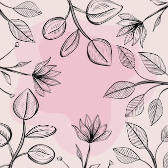 Handschriftliche blüten und blätter