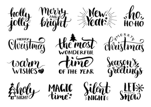 Handschriftliche weihnachts- und neujahrskalligraphie mit festlichen verzierungen.