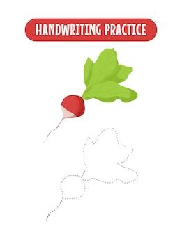 Handschriftpraxis, die linien von gemüselernkindern verfolgt, die ein übungsspiel schreiben
