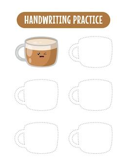Handschriftpraxis, die linien von kaffee-pädagogischen kindern verfolgt, die übungsspiel schreiben
