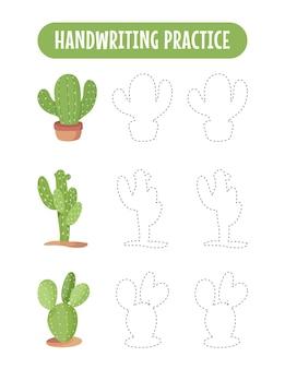 Handschriftpraxis, die linien von kaktus-pädagogischen kindern verfolgt, die übungsspiel schreiben