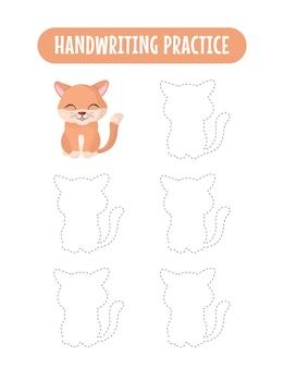Handschriftpraxis, die linien von katzenpädagogischen kindern verfolgt, die ein übungsspiel schreiben
