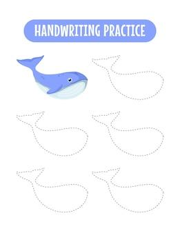 Handschriftpraxis, die linien von meerestieren verfolgt pädagogische kinder, die übungsspiel schreiben
