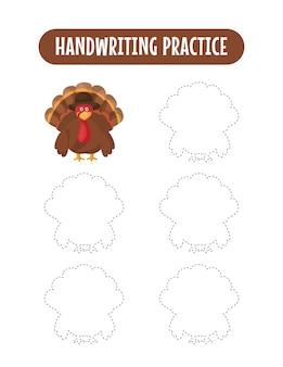 Handschriftpraxis, die linien von truthahn-pädagogischen kindern verfolgt, die übungsspiel schreiben