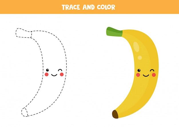 Handschriftpraxis für kinder im vorschulalter mit niedlicher kawaii banane.