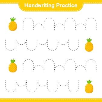 Handschriftpraxis. linien der ananas verfolgen. pädagogisches kinderspiel, druckbares arbeitsblatt