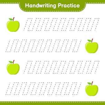 Handschriftpraxis. linien von apple verfolgen. pädagogisches kinderspiel, druckbares arbeitsblatt
