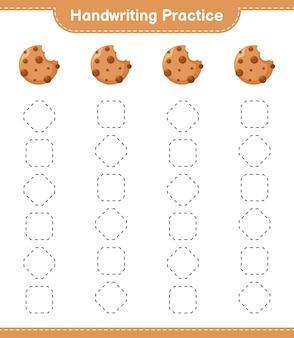 Handschriftpraxis. linien von cookies verfolgen. pädagogisches kinderspiel, druckbares arbeitsblatt