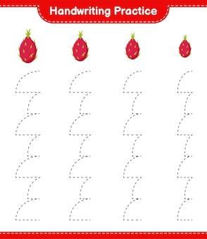 Handschriftpraxis. linien von drachenfrüchten verfolgen. pädagogisches kinderspiel, druckbares arbeitsblatt
