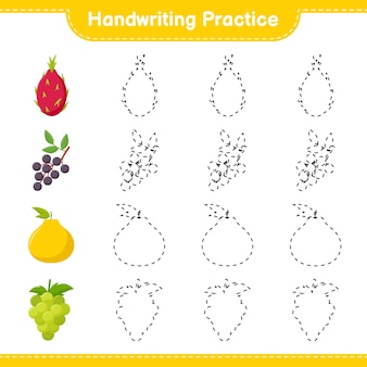Handschriftpraxis. linien von früchten verfolgen. pädagogisches kinderspiel, druckbares arbeitsblatt, illustration