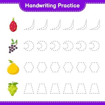 Handschriftpraxis. linien von früchten verfolgen. pädagogisches kinderspiel, druckbares arbeitsblatt