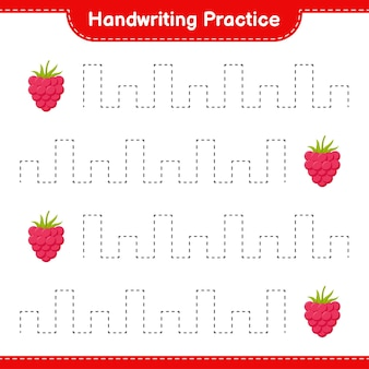 Handschriftpraxis. linien von himbeeren verfolgen. pädagogisches kinderspiel, druckbares arbeitsblatt